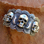 Solid Sterling Silver Skull Cuff