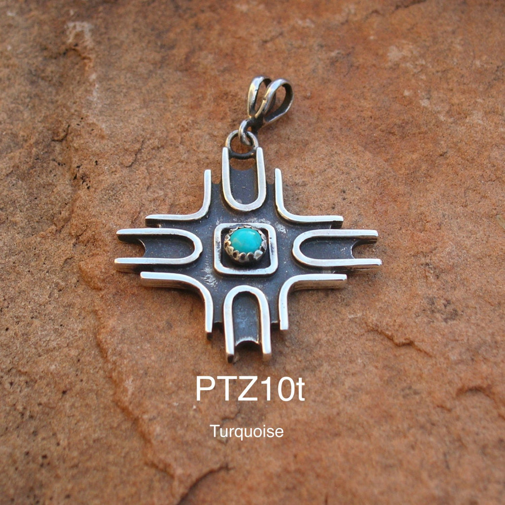 PTZ10T Contemporary Zia Pendant with Turquoise Exclusive Original Design