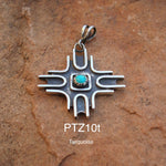 Contemporary Zia Pendant with Turquoise Exclusive Original Design