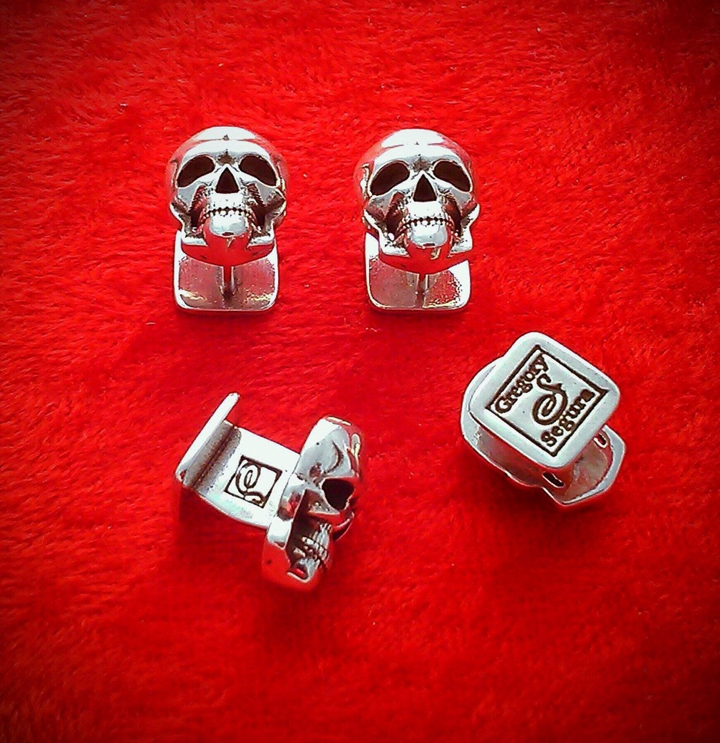 Set of 4 Skull Tuxedo Shirt Button Studs