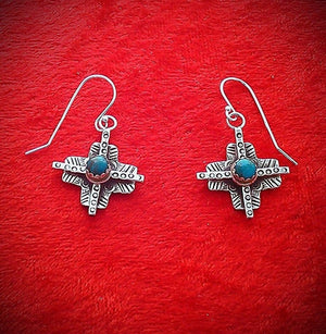 25% OFF Turquoise ONLY E113A Tesuque Cross Coral or Turquoise Earrings