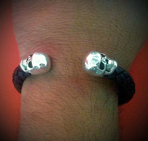 Sterling Silver Skull Braided Leather Cuff