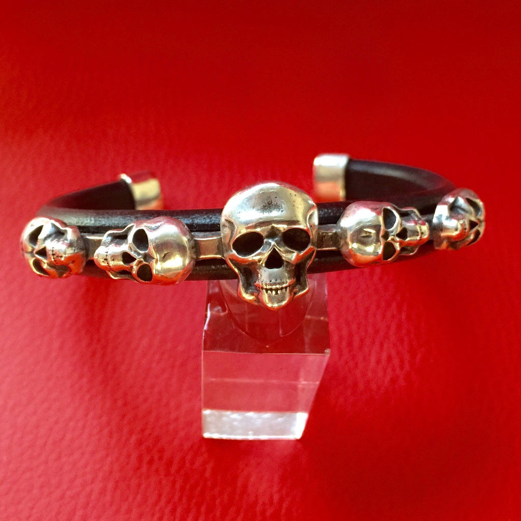 C26 Skull Sterling Silver Inlayed on Leather Cuff