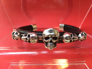 SALE IN STOCK SIZE ONLY C26 Skull Sterling Silver Inlayed on Leather Cuff