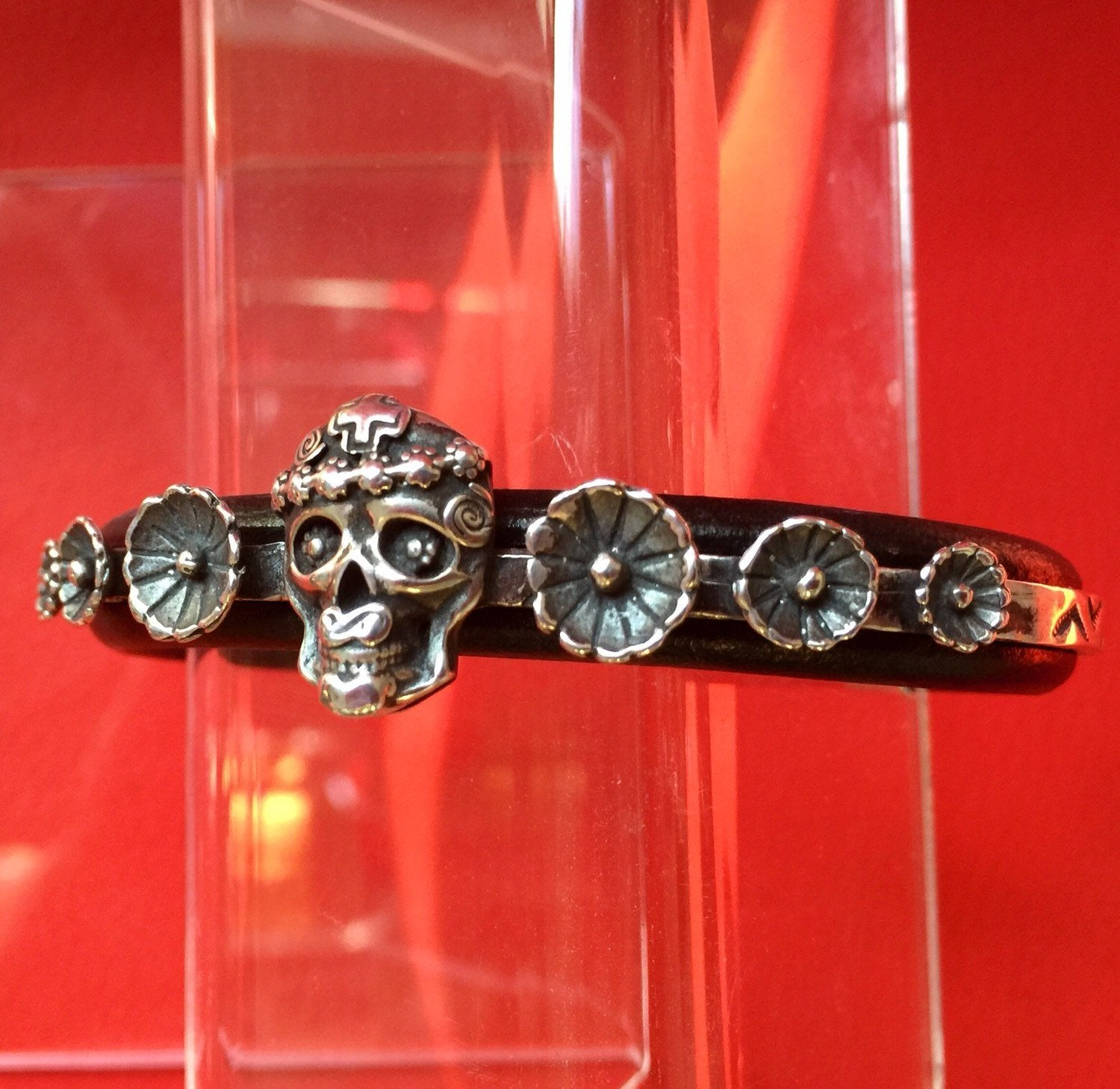 Mi Vida Loca Skull with Flowers Sterling  Silver Inlayed on Leather Cuff