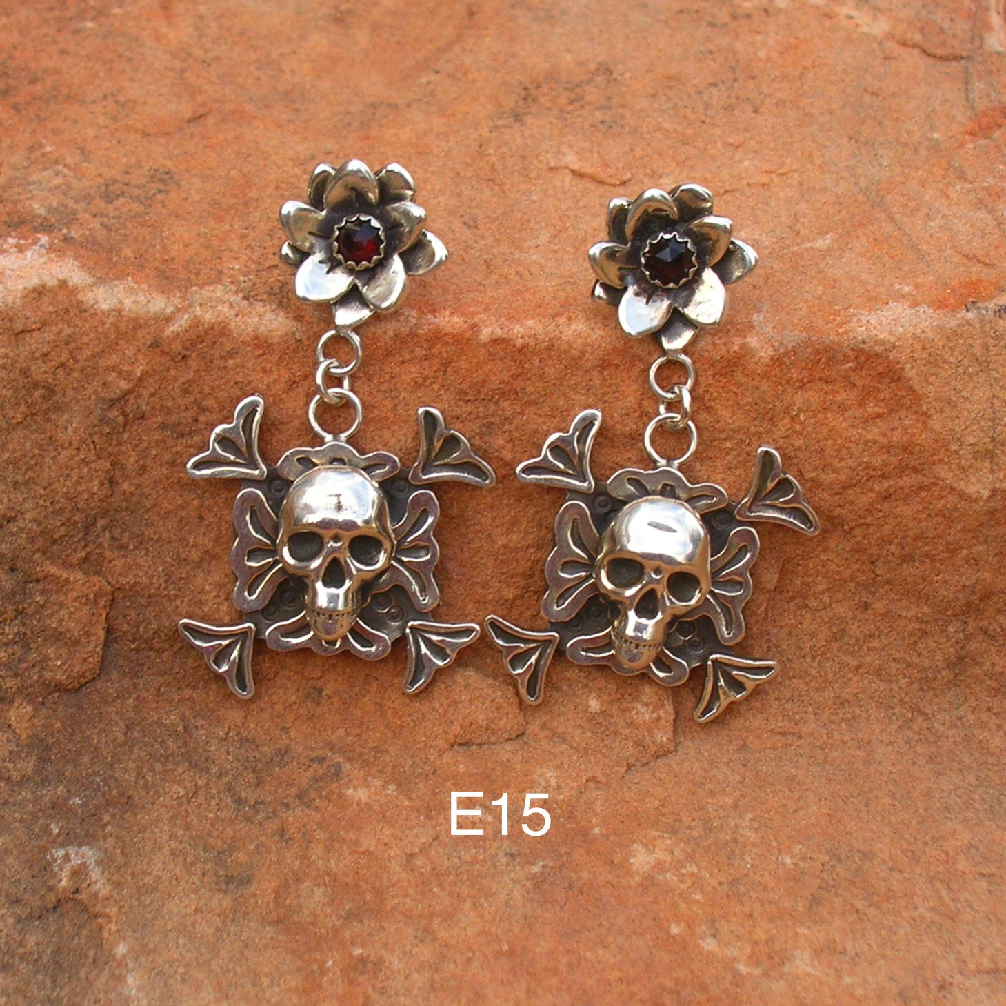 E15 Desert Flower Chama Overlay Skull Earrings