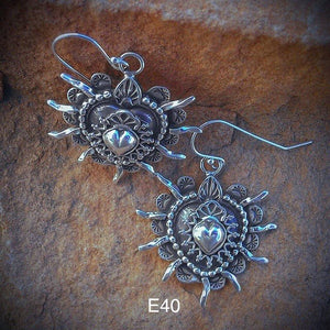 E40 Double Sacred Heart Earrings
