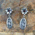 E291 Flower with Garnet over Guadalupe Earrings