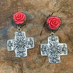 25% OFF E71 Red Rose Santa Fe Cross Earrings