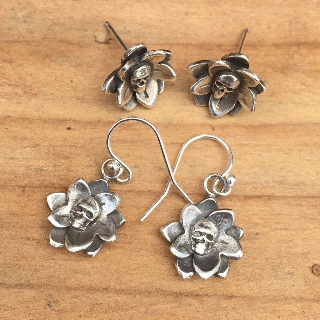 25% OFF E37 Flor de Vida Skull Flower Earrings
