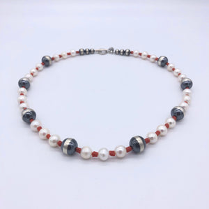 PN2 White Pearl and Coral Necklace