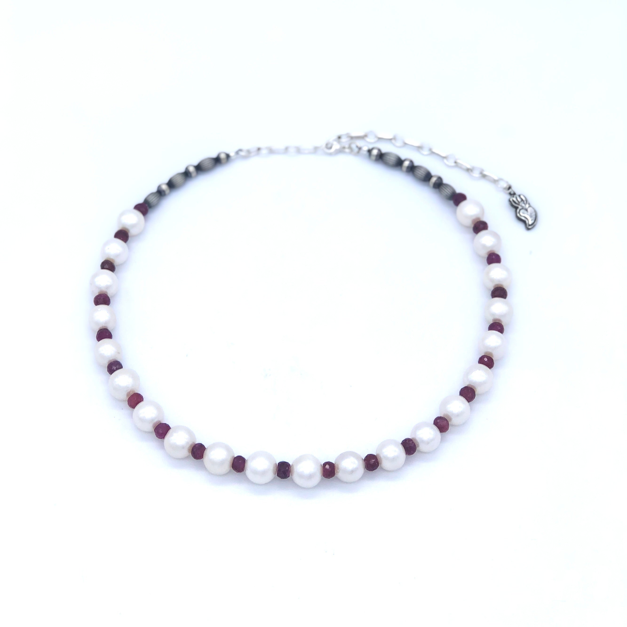 PN3 White Pearl and Ruby Necklace