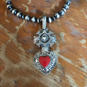 Multi Layer Cross Rosarita Heart Pendant