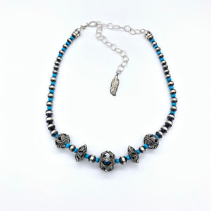 Contact to Inquire SP4 Santa Fe Pearls with Turquoise and Sterling Bead Necklace