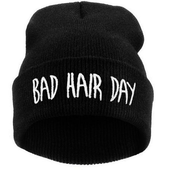 Black Bad Hair Day Winter Beanie Hat for Men&Women