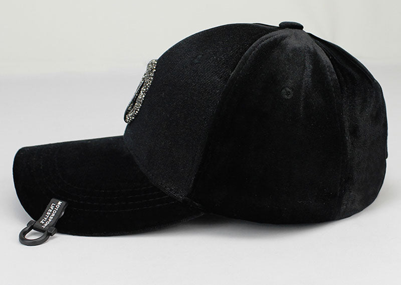 Black Women Velvet Baseball Cap D Logo