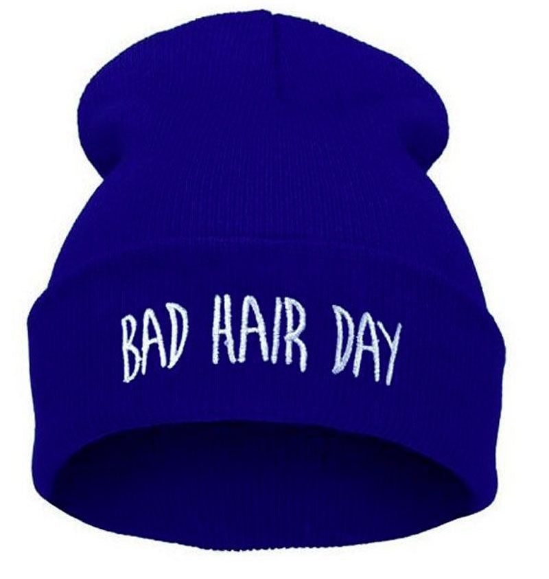 Blue Bad Hair Day Winter Beanie Hat for Men&Women