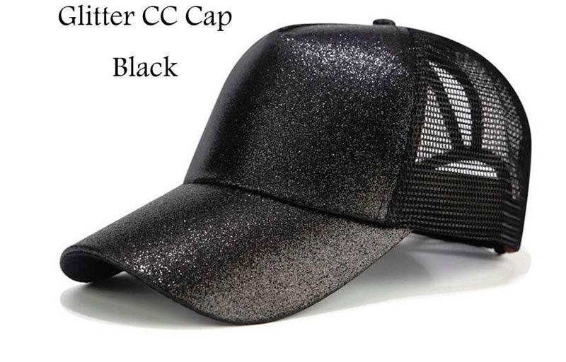Black Glitter Women Baseball Hat