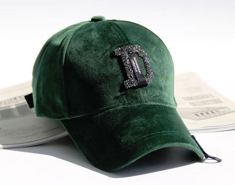 Green Women Velvet Baseball Cap D Logo