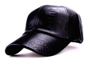 Men Black Leather Baseball Hat
