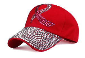 Trendy Red Rhinestone Women Baseball Cap Hat