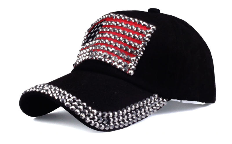 Trendy Black USA Flag Rhinestone Women Baseball Cap Hat