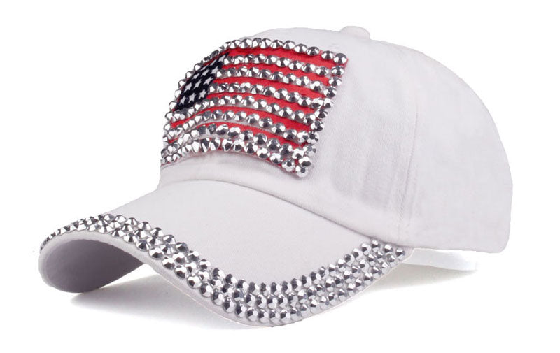 Trendy White USA Flag Rhinestone Women Baseball Cap Hat