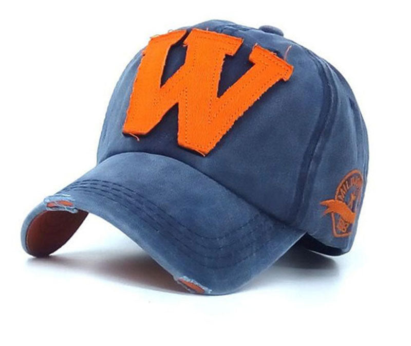 W Blue Distressed Unisex Baseball Cap
