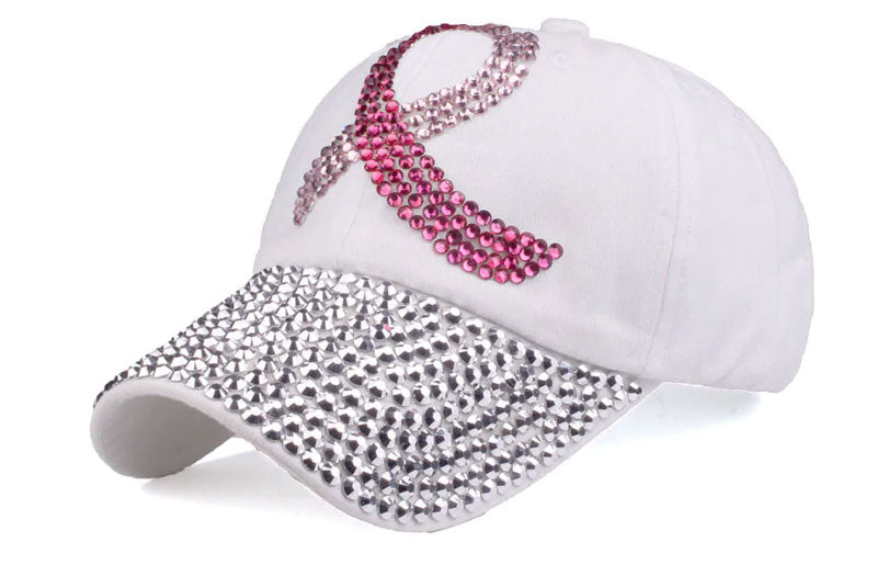 Trendy White Rhinestone Women Baseball Cap Hat