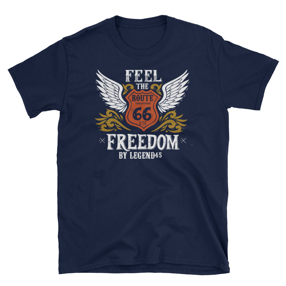 Legend45 Biker t-shirts, motorcycle apparel, Route 66, Freedom, American Custom Motorcycles. Live 2 ride. Navy