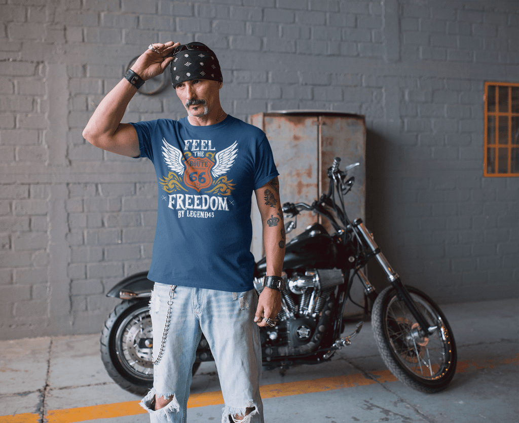 Legend45 Biker t-shirts motorcycle apparel Route 66 Feel The Freedom