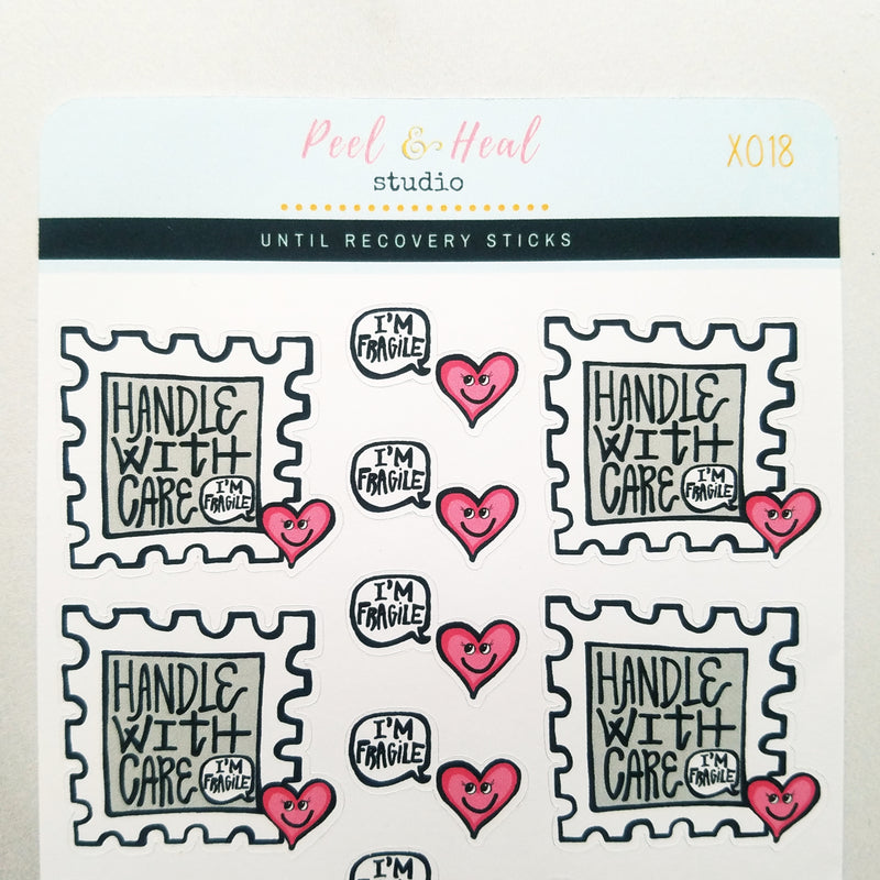 Handle with Care Postage Stamps - Peel & Heal Studio