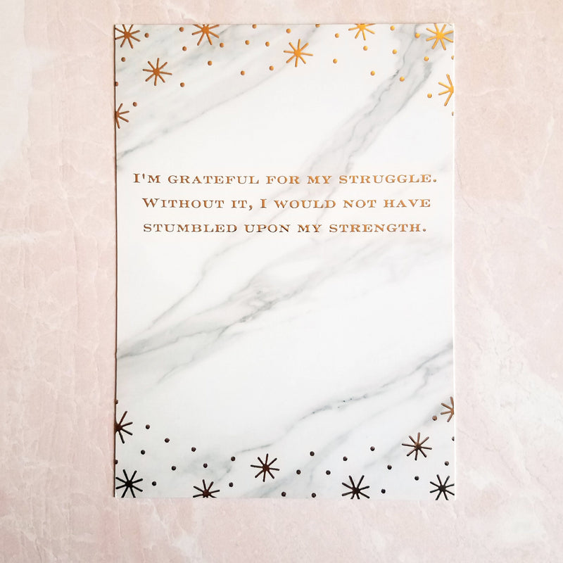 Premium Foiled Marble Quote Journal Card