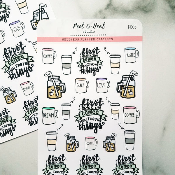 Coffee Lovers Doodle Sampler - Peel & Heal Studio-Stickers