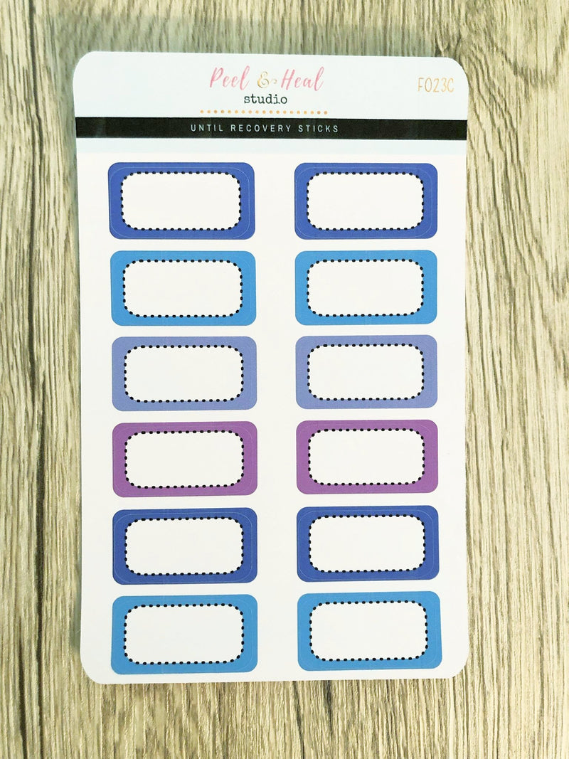 Dashed Border Half Boxes - 5 color options - Peel & Heal Studio-Stickers
