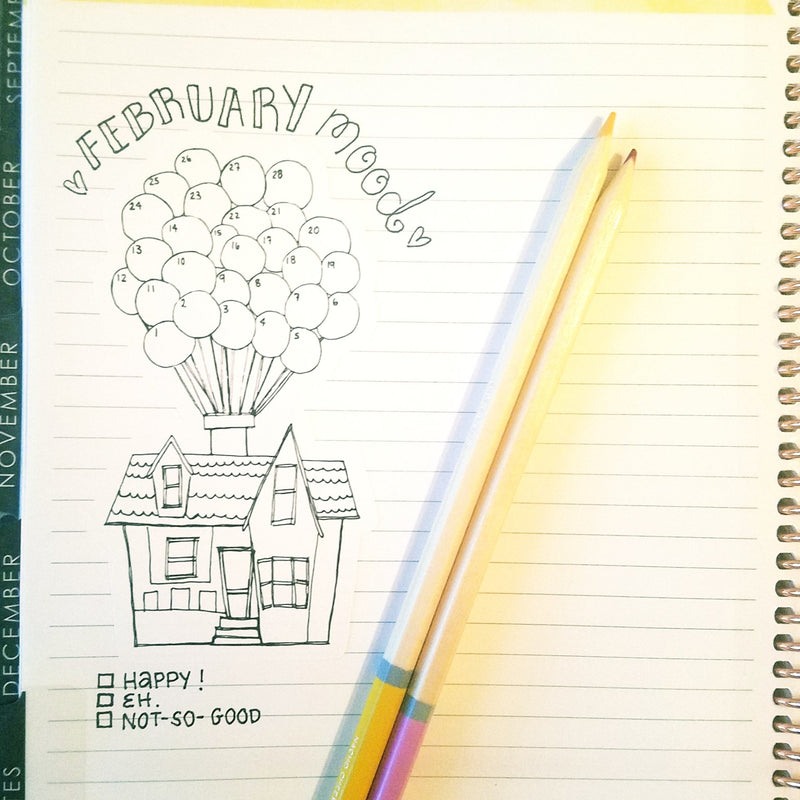 "February Monthly Mood Tracker - ""UP"" Balloon House - Peel & Heal Studio-Tracker"