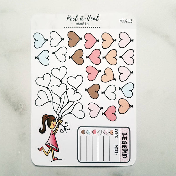 Heart Balloons: Weekly Mood Tracker Kit - Peel & Heal Studio-Tracker