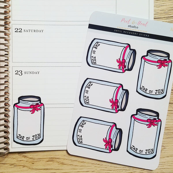 Jars of Joy (happiness logs) - Peel & Heal Studio-Stickers