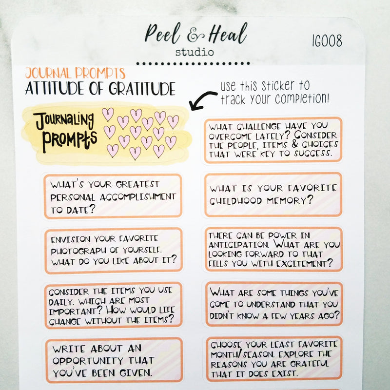 Journal Prompts - Attitude of Gratitude - Peel & Heal Studio-Prompts