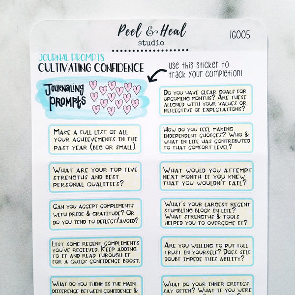 Journal Prompts - Cultivating Confidence - Peel & Heal Studio-Prompts