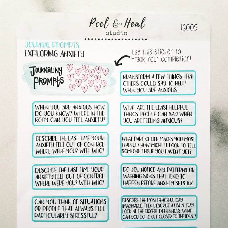Journal Prompts - Exploring Anxiety - Peel & Heal Studio-Prompts