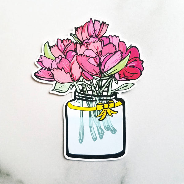 Mason Jar Peonies Die Cut - Peel & Heal Studio-Die Cut