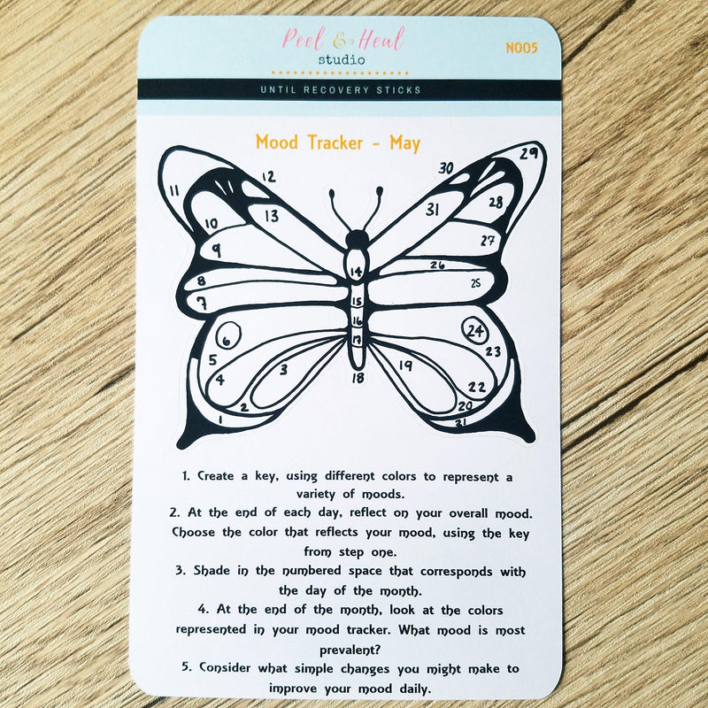 May Monthly Mood Tracker - Butterfly - Peel & Heal Studio-Tracker