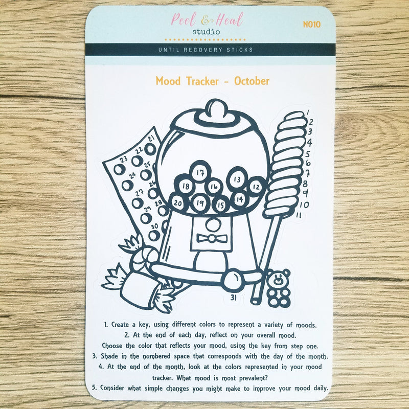October Monthly Mood Tracker - Candy Shop - Peel & Heal Studio-Tracker