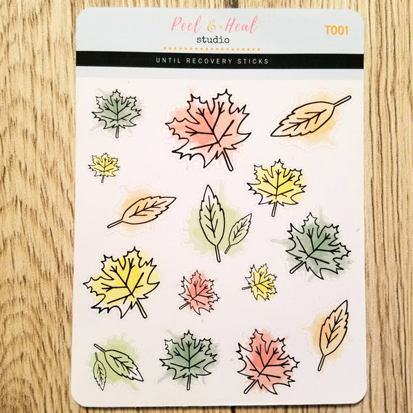Paint-splattered Autumn Leaves - Peel & Heal Studio-Stickers