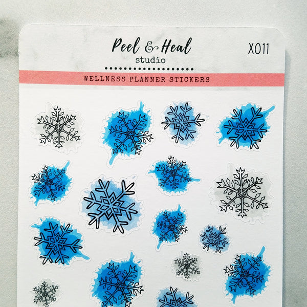 Paint-splattered Winter Snowflakes - Peel & Heal Studio-Stickers