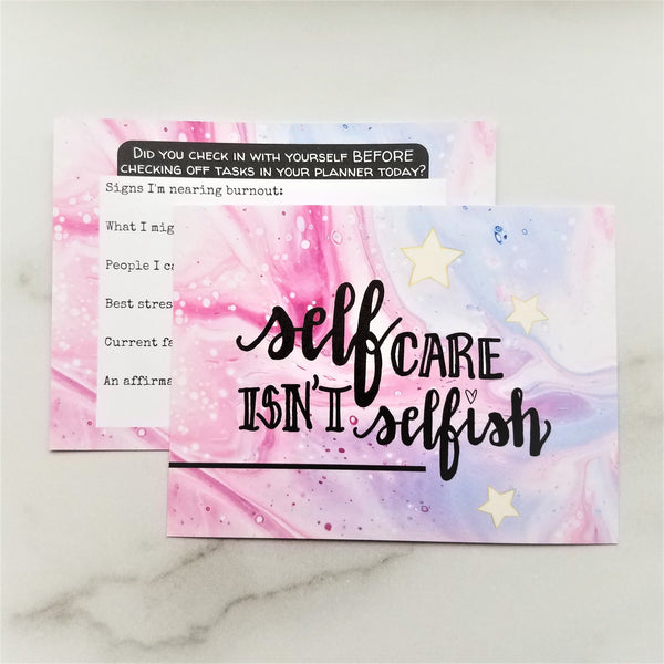 Self Care Check-In Journaling Reference Card - Peel & Heal Studio-Paper