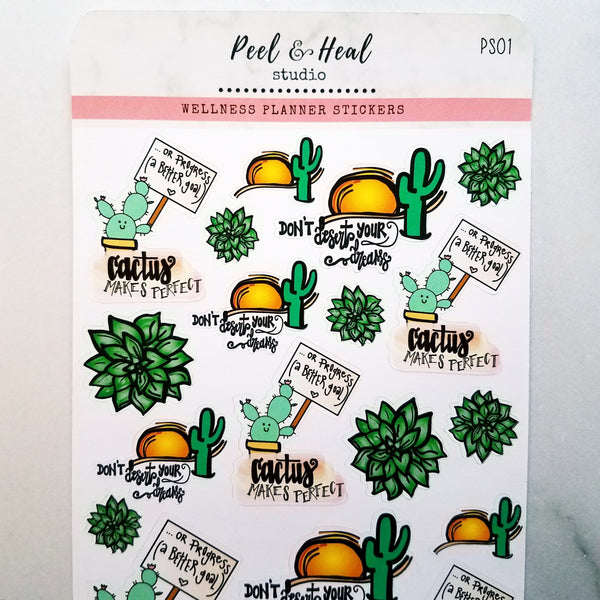 Succulent Strength: Sticker Sheets - Peel & Heal Studio-Stickers