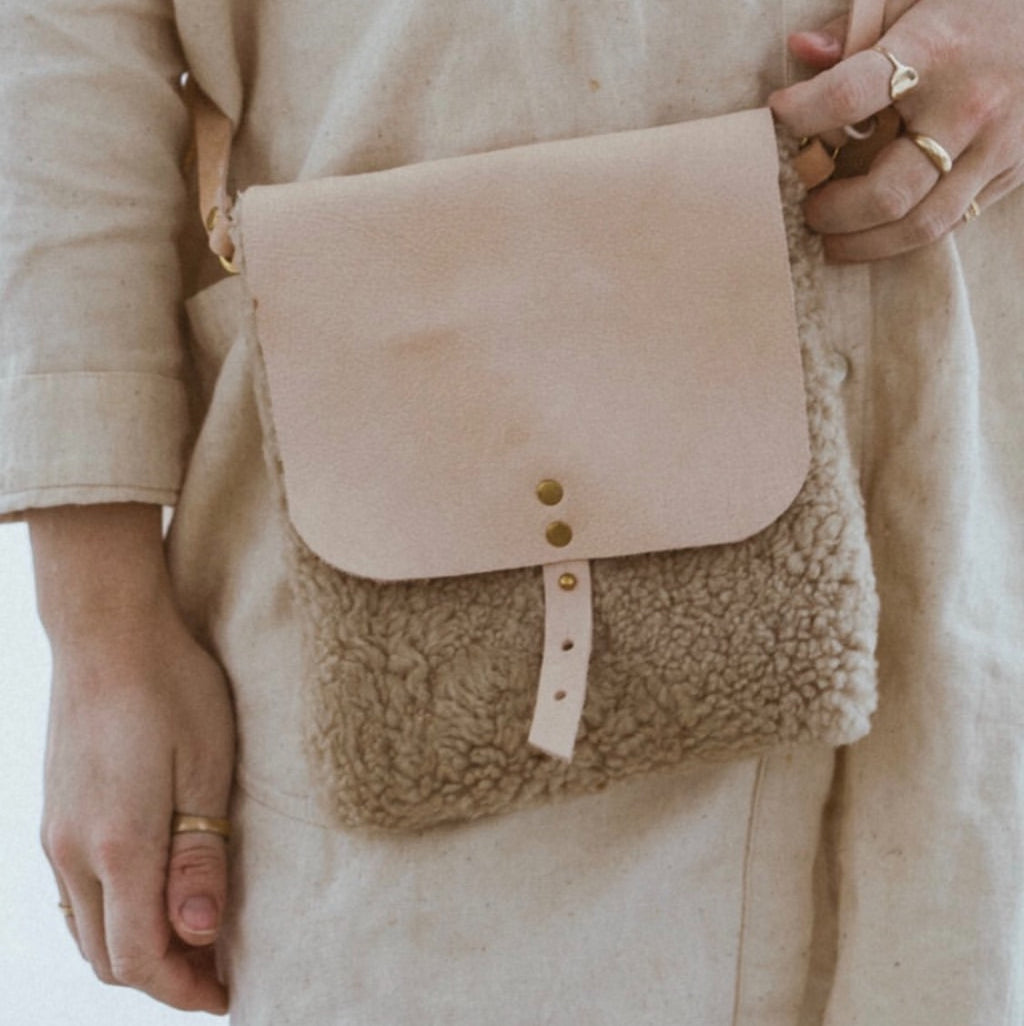 shearling hip satchel & crossbody bag //