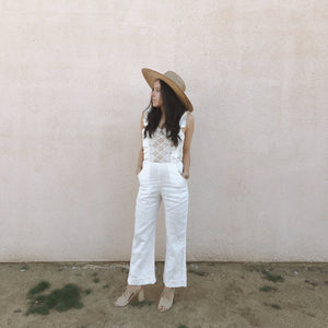 diamond lace ruffle overalls //
